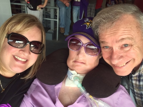 Mom, Dad and I went to a pre-season Vikings game to cheer Jenna on!